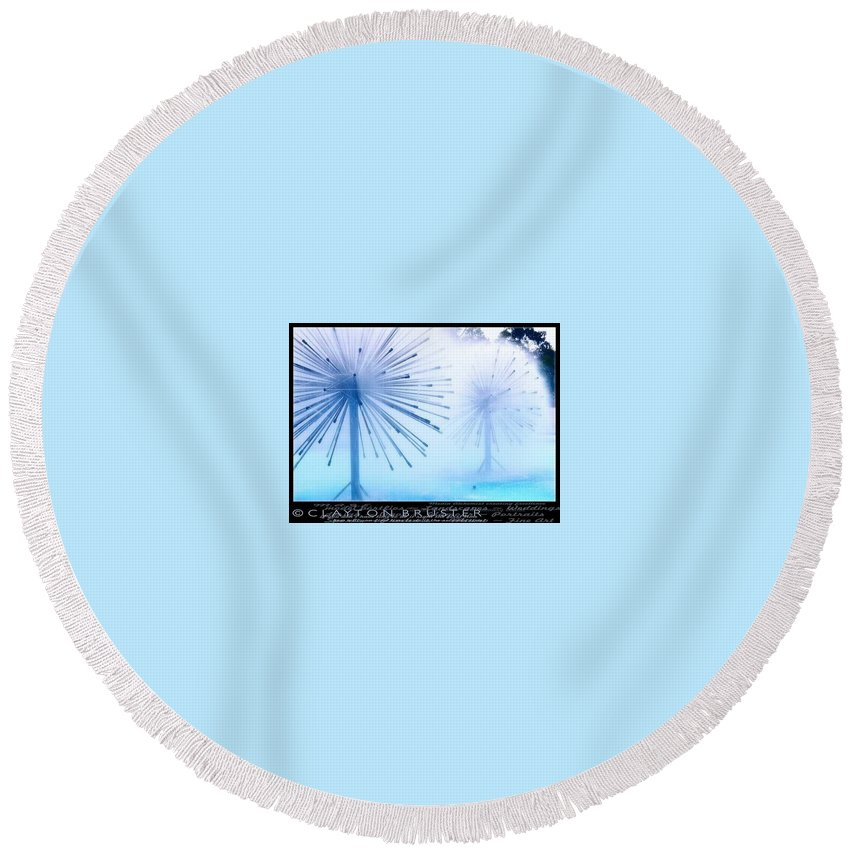 Clay Round Beach Towel featuring the photograph Southern California Fountains by Clayton Bruster