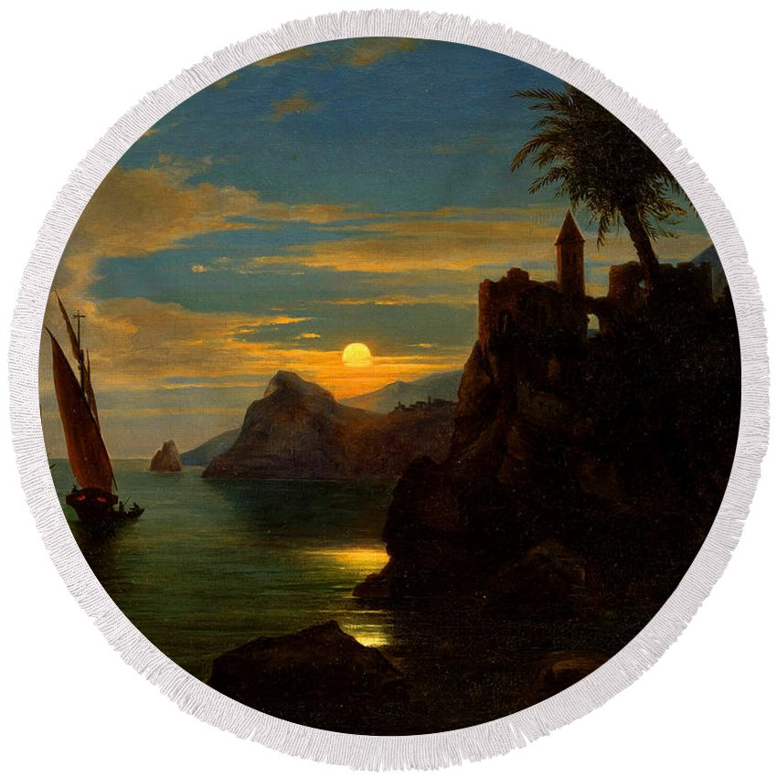 Ferdinand Keller Round Beach Towel featuring the painting Southern Coastal View By Moonlight by Georg Kobel