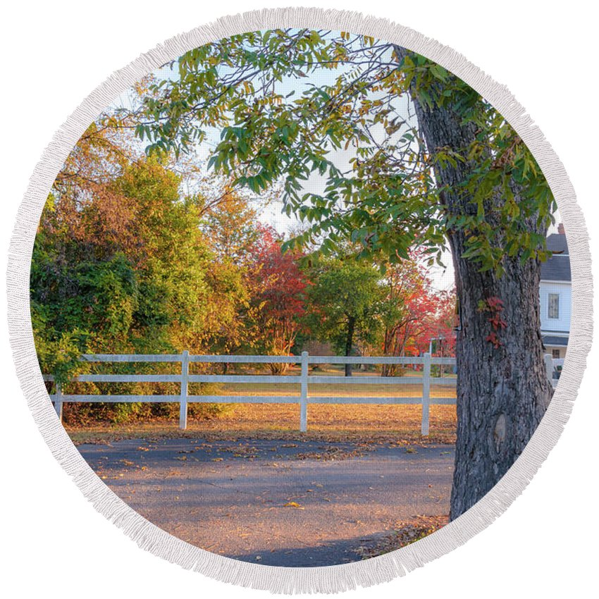 Landscape Round Beach Towel featuring the photograph Southern Fall by Andrea Anderegg