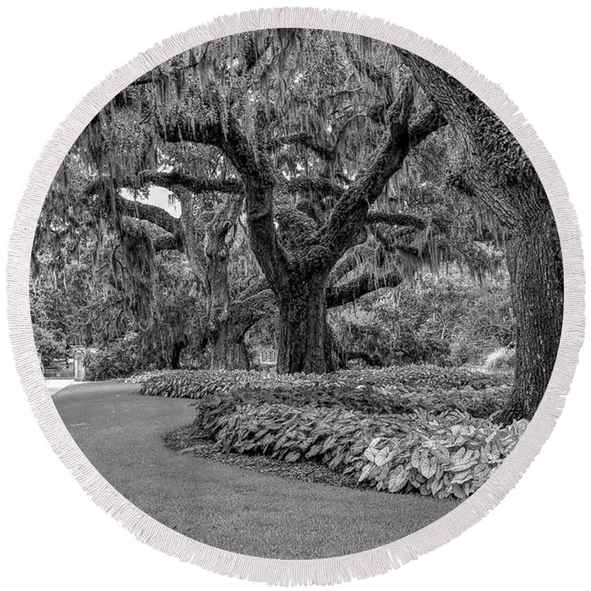 Scenic Round Beach Towel featuring the photograph Southern Oaks In Black And White by Kathy Baccari
