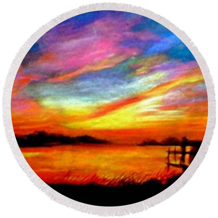 Sunset Round Beach Towel featuring the painting Southern Sunset by Gail Kirtz