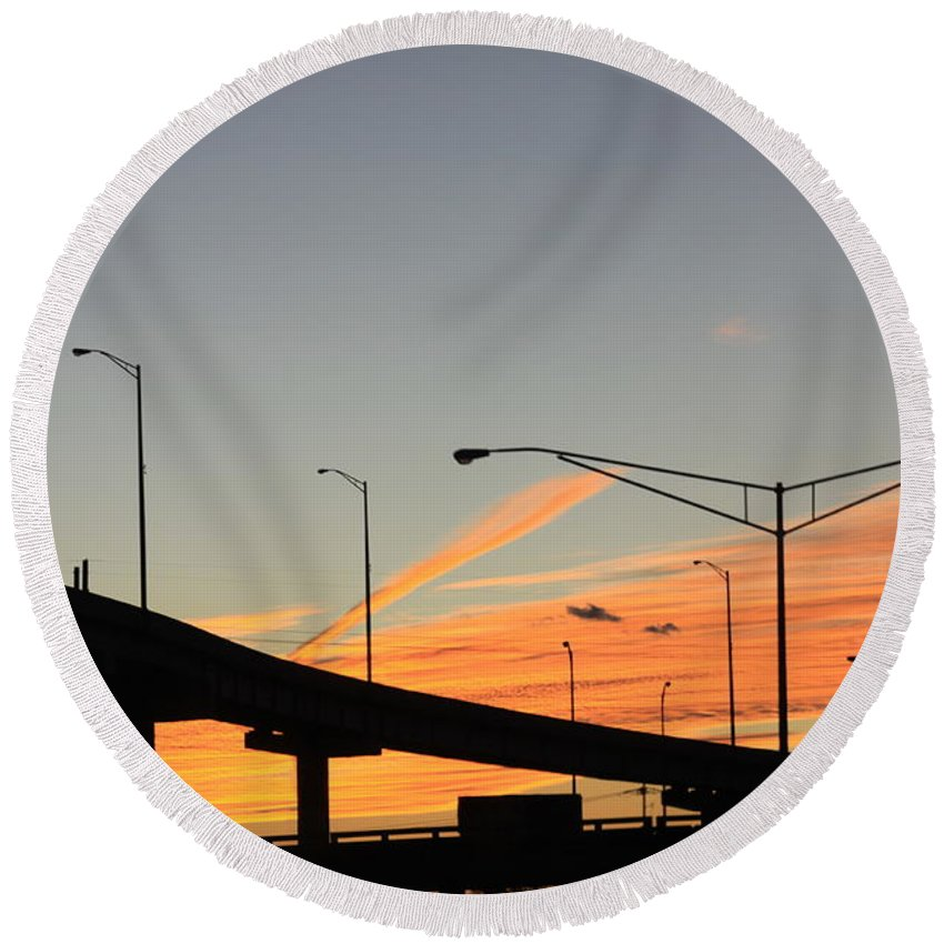New Orleans Louisiana Round Beach Towel featuring the photograph Southern Sunsets by Lori Mahaffey