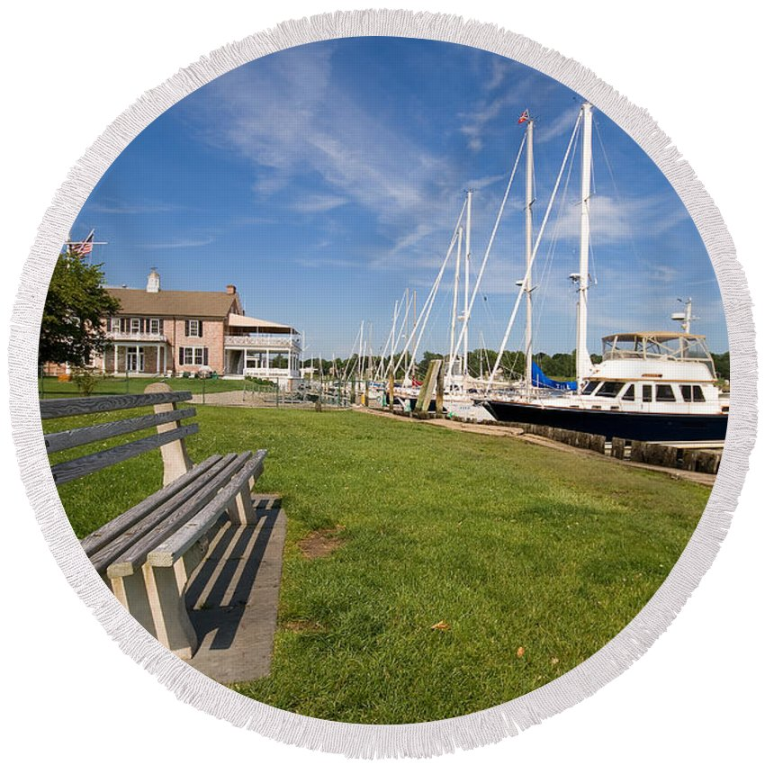 Southport Round Beach Towel featuring the photograph Southport Harbor Connecticut by Stephanie McDowell