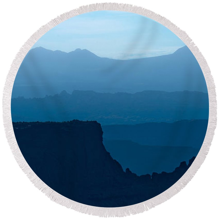 Canyonlands Round Beach Towel featuring the photograph Southwest Blues by Renee Sullivan