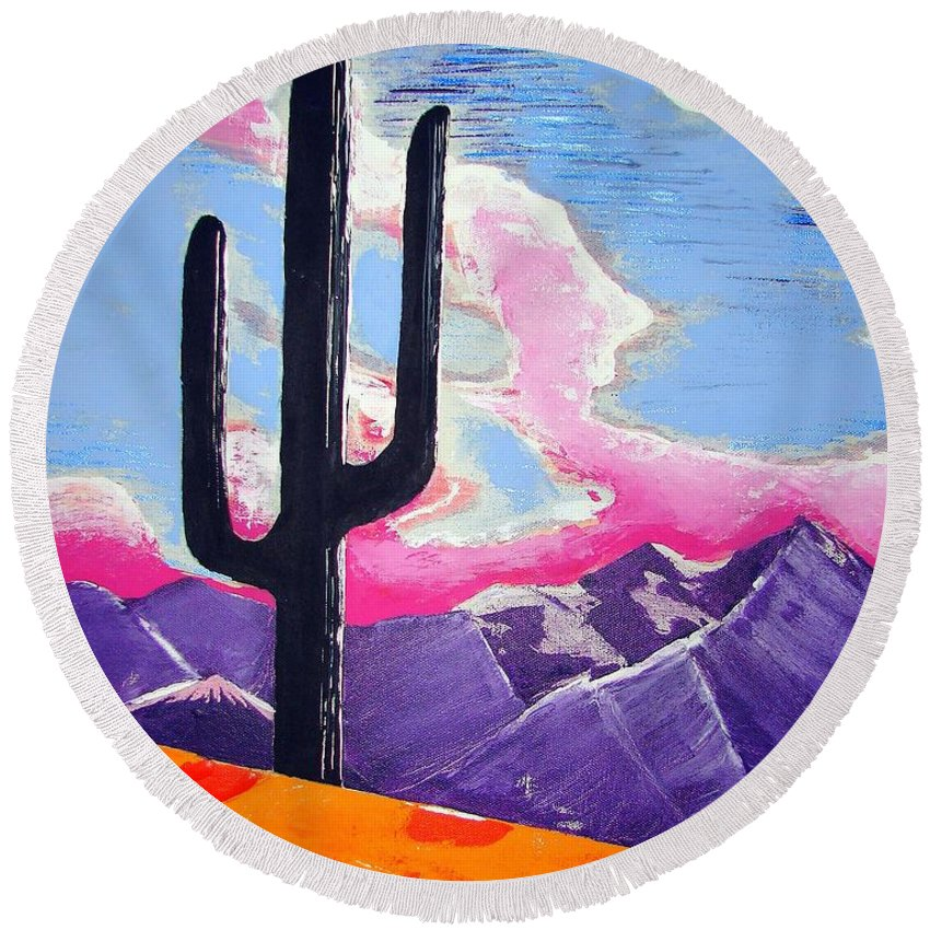 Cactus Round Beach Towel featuring the painting Southwest Skies 2 by J R Seymour