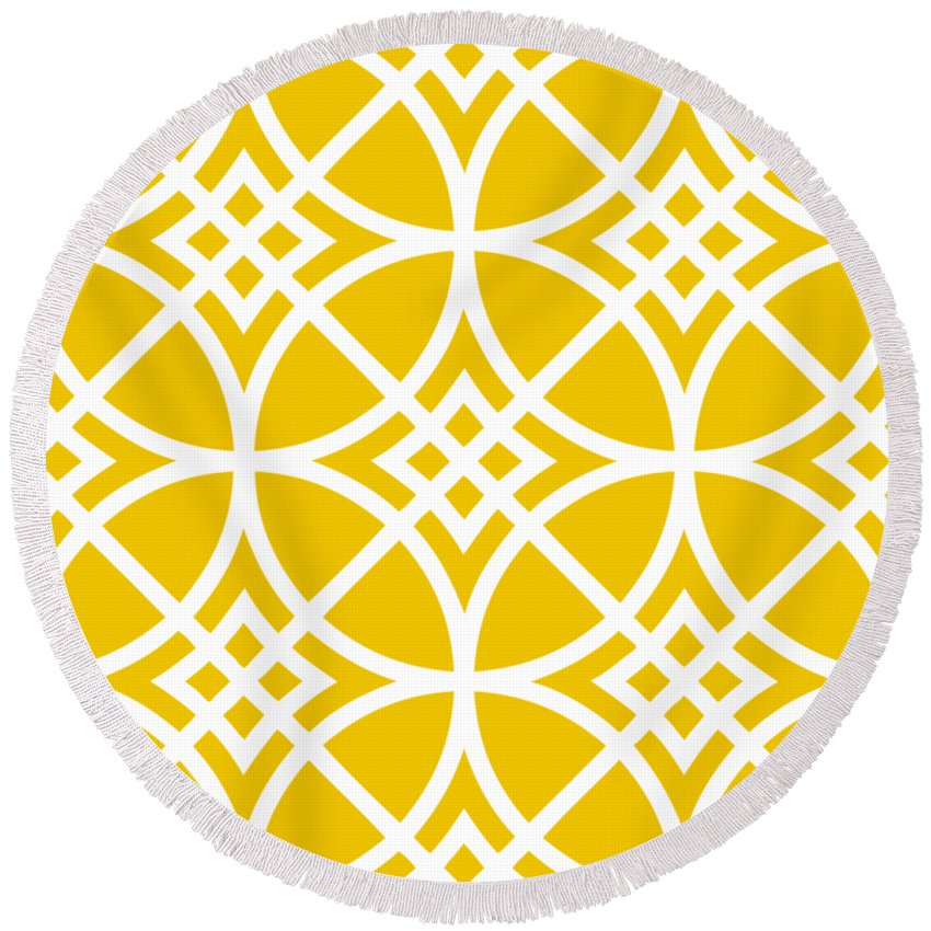 Southwestern Inspired Round Beach Towel featuring the digital art Southwestern Inspired With Border In Mustard by Custom Home Fashions