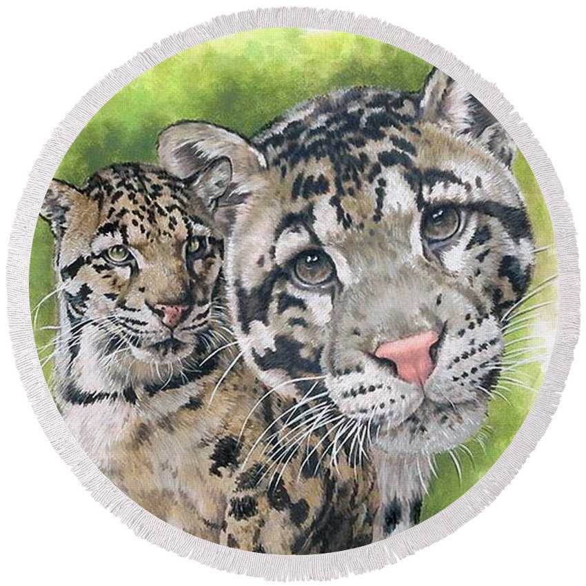 Clouded Leopard Round Beach Towel featuring the mixed media Sovereignty by Barbara Keith