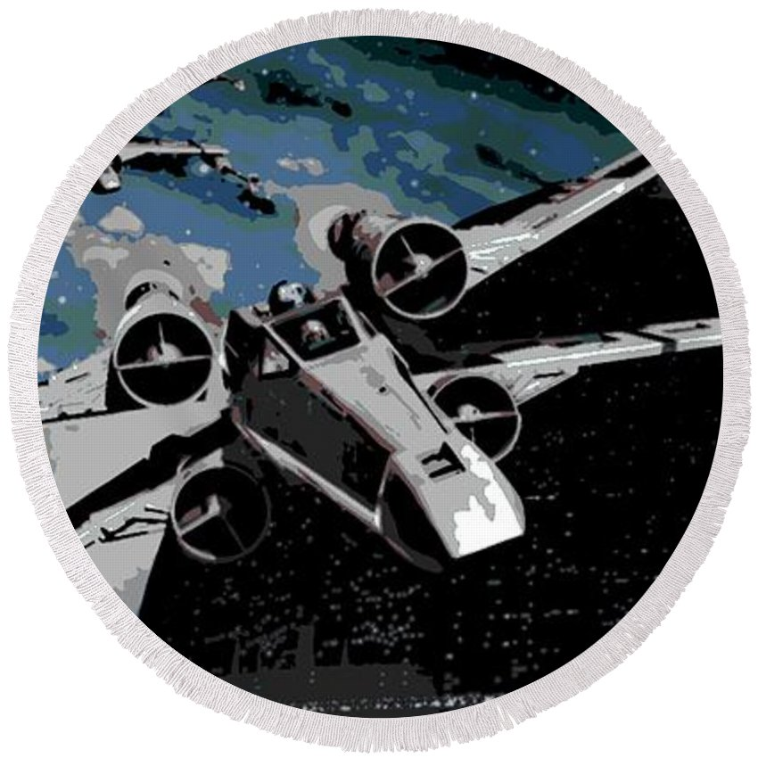 X Wing Fighter Round Beach Towel featuring the digital art Space by George Pedro