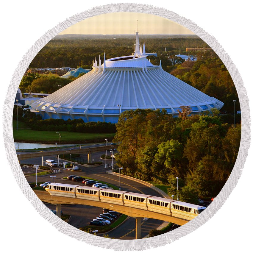 Space Mountain Rollercoaster Round Beach Towel featuring the photograph Space Mountain And Monorail Peach by David Lee Thompson