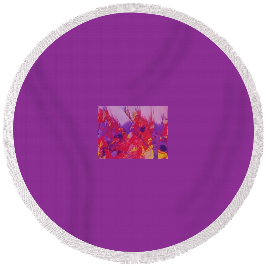 Fire Round Beach Towel featuring the painting Space On Fire by Jan Pellizzer
