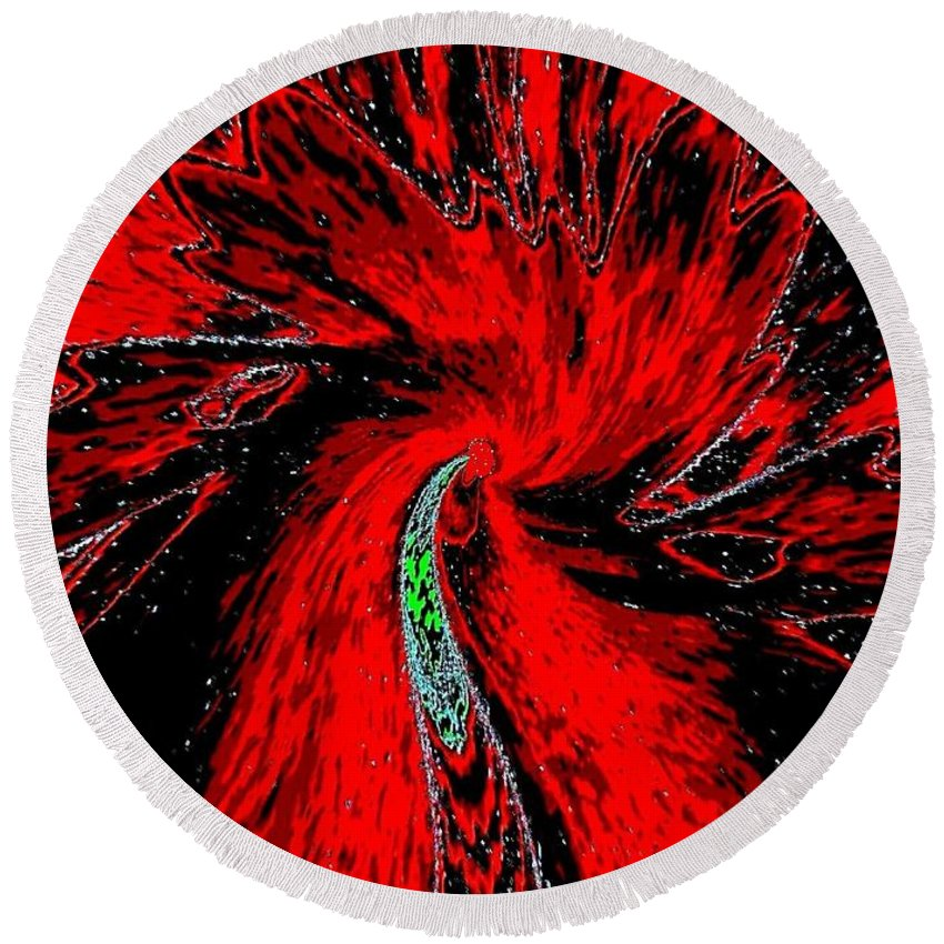 Abstract Round Beach Towel featuring the digital art Space Poppy by Will Borden