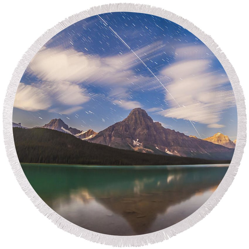 Banff National Park Round Beach Towel featuring the photograph Space Station Passing West To East by Alan Dyer