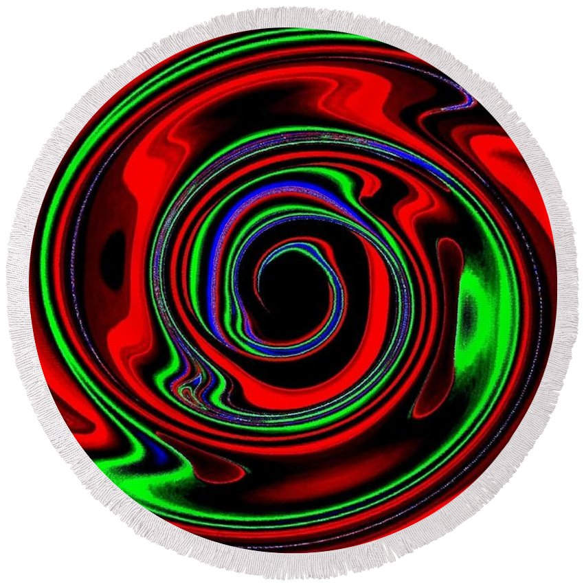 Abstract Round Beach Towel featuring the digital art Space Twister by Will Borden