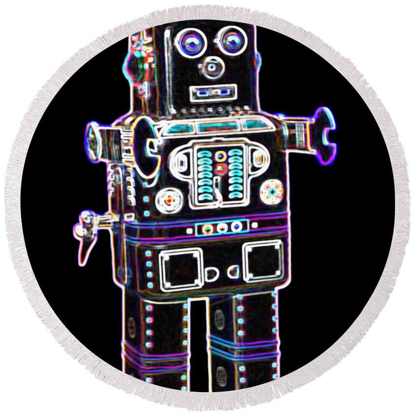 Robot Round Beach Towel featuring the digital art Spaceman Robot by DB Artist