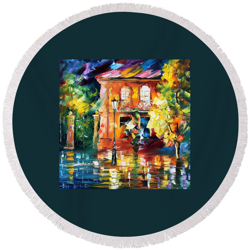 Afremov Round Beach Towel featuring the painting Spain by Leonid Afremov