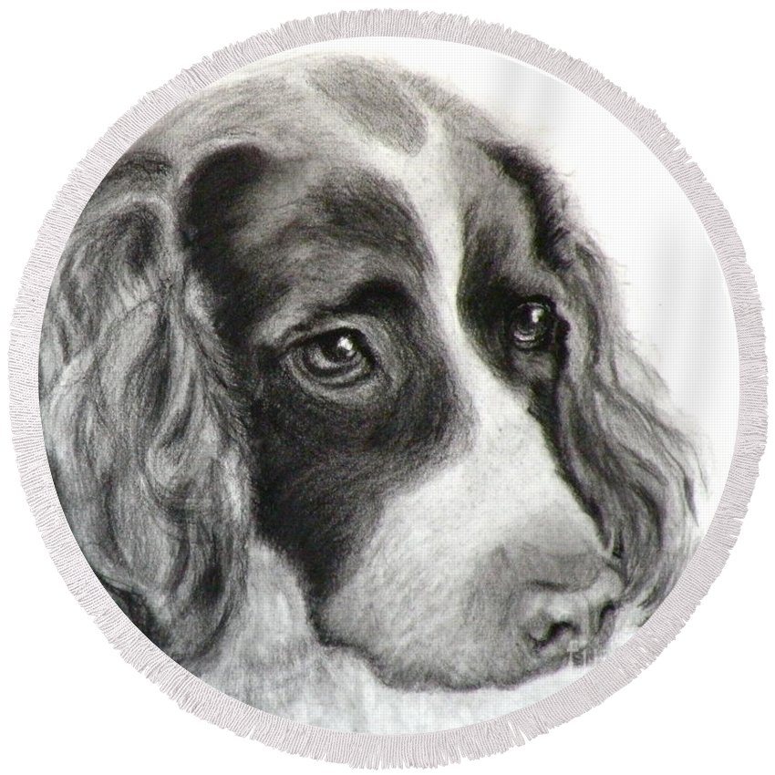 Dogs Round Beach Towel featuring the painting Spaniel Drawing by Susan A Becker