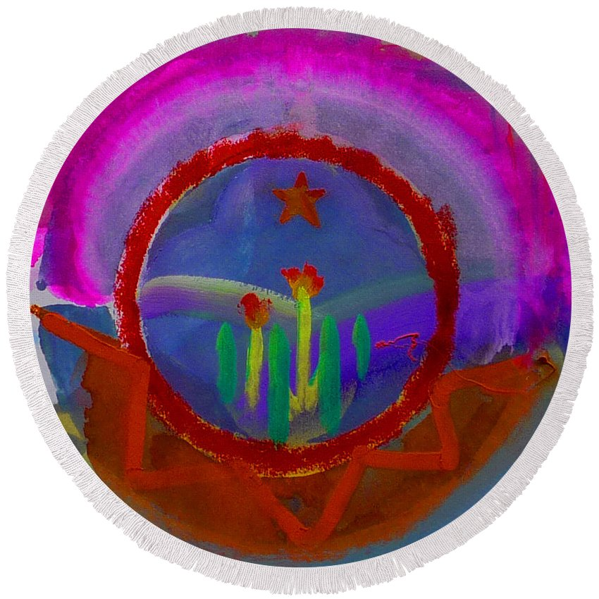 Love Round Beach Towel featuring the painting Spanish America by Charles Stuart