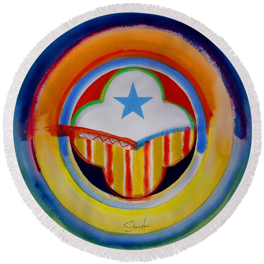 Button Round Beach Towel featuring the painting Spanish American by Charles Stuart