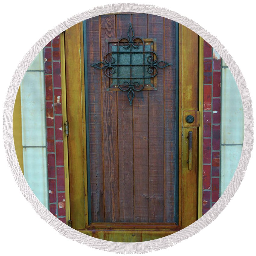 Ornate Round Beach Towel featuring the photograph Spanish Door by Richard Jenkins