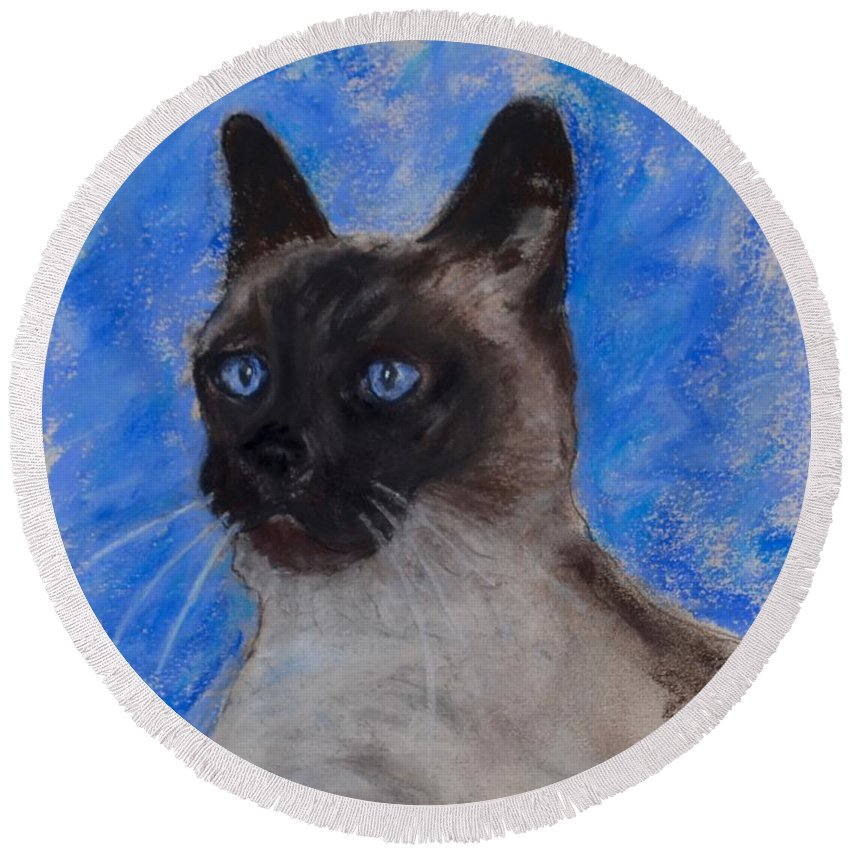 Siamese Cat Round Beach Towel featuring the drawing Spark Of Life by Cori Solomon
