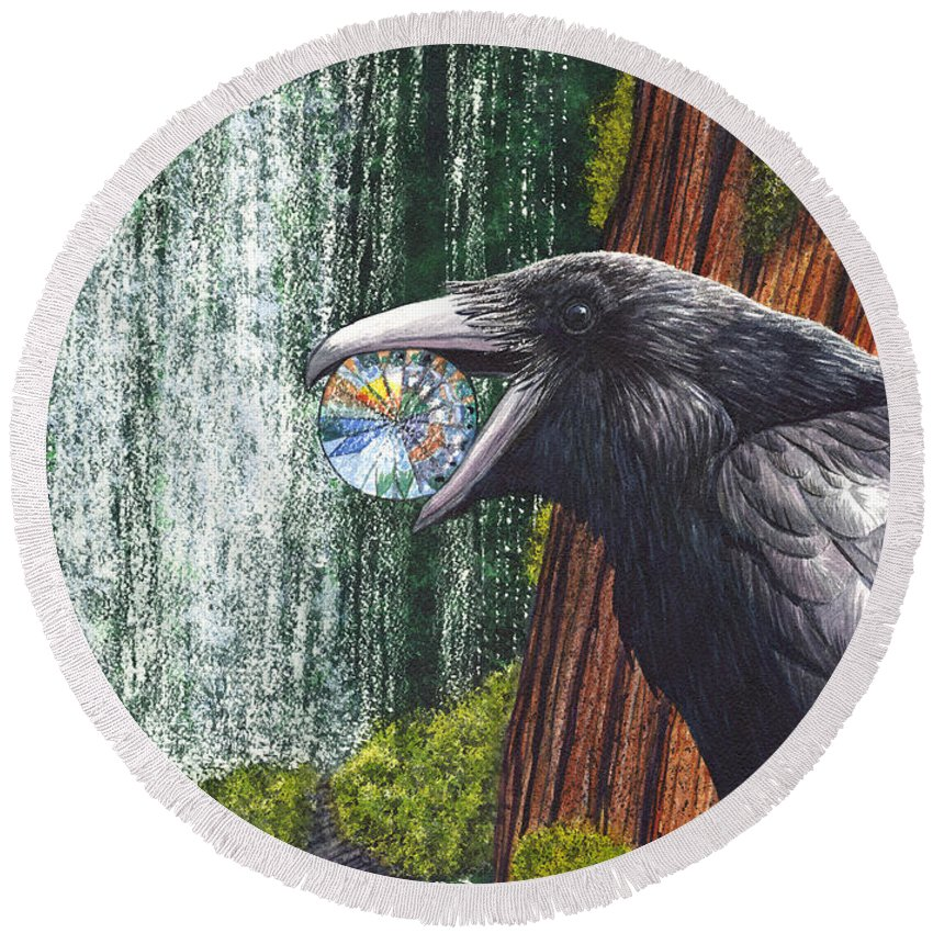 Raven Round Beach Towel featuring the painting Sparkle by Catherine G McElroy