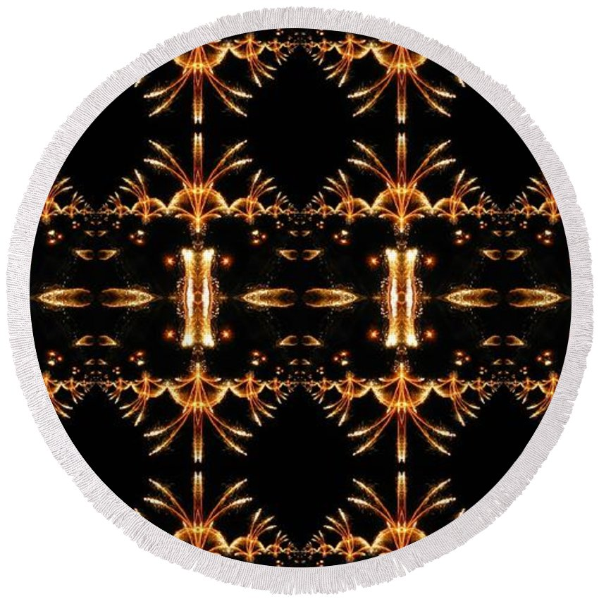 Kaleidoscope Round Beach Towel featuring the photograph Sparkling Art Deco Banner by M E Cieplinski