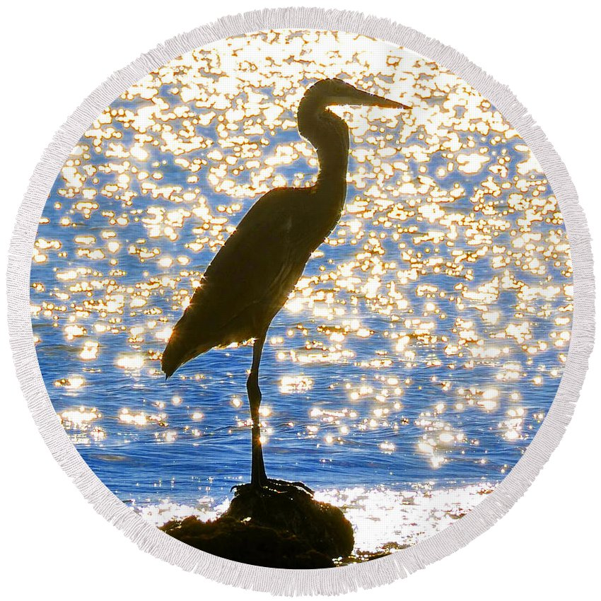 Egret Round Beach Towel featuring the photograph Sparkling Egret by David Lee Thompson