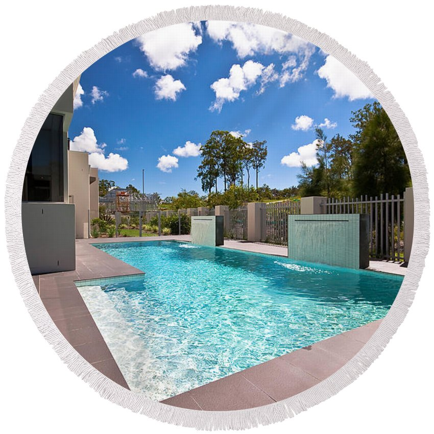 Sparkling Round Beach Towel featuring the photograph Sparkling New Pool by Darren Burton