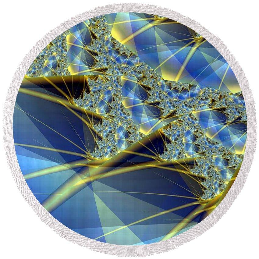 Diamonds Round Beach Towel featuring the digital art Sparkling Web by Ron Bissett