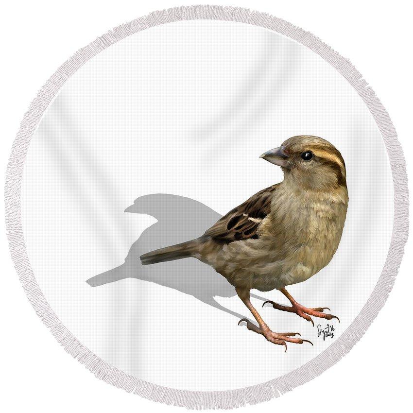 Birds Round Beach Towel featuring the digital art Sparrow by Sigrid Van Dort