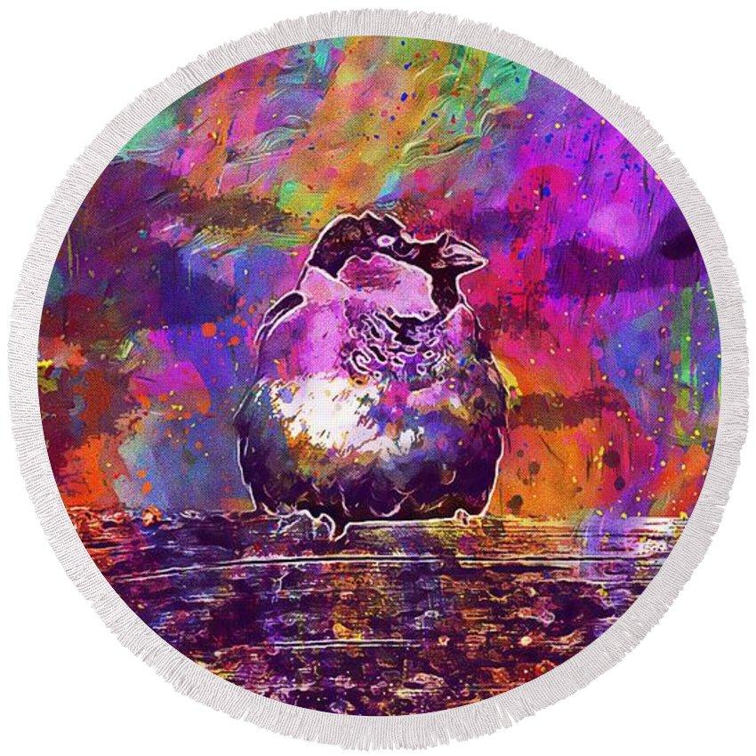 Sparrow Round Beach Towel featuring the digital art Sparrow Sperling Bird Close by PixBreak Art
