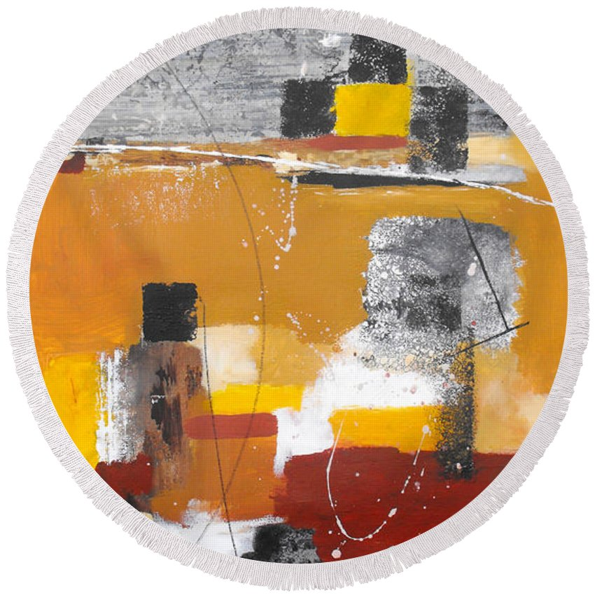 Abstract Round Beach Towel featuring the painting Special Circumstances II by Ruth Palmer