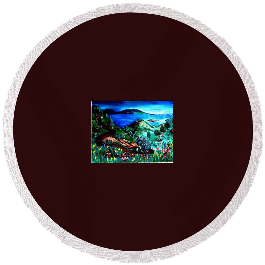 Landscape Round Beach Towel featuring the painting Special Land by Andrew Johnson