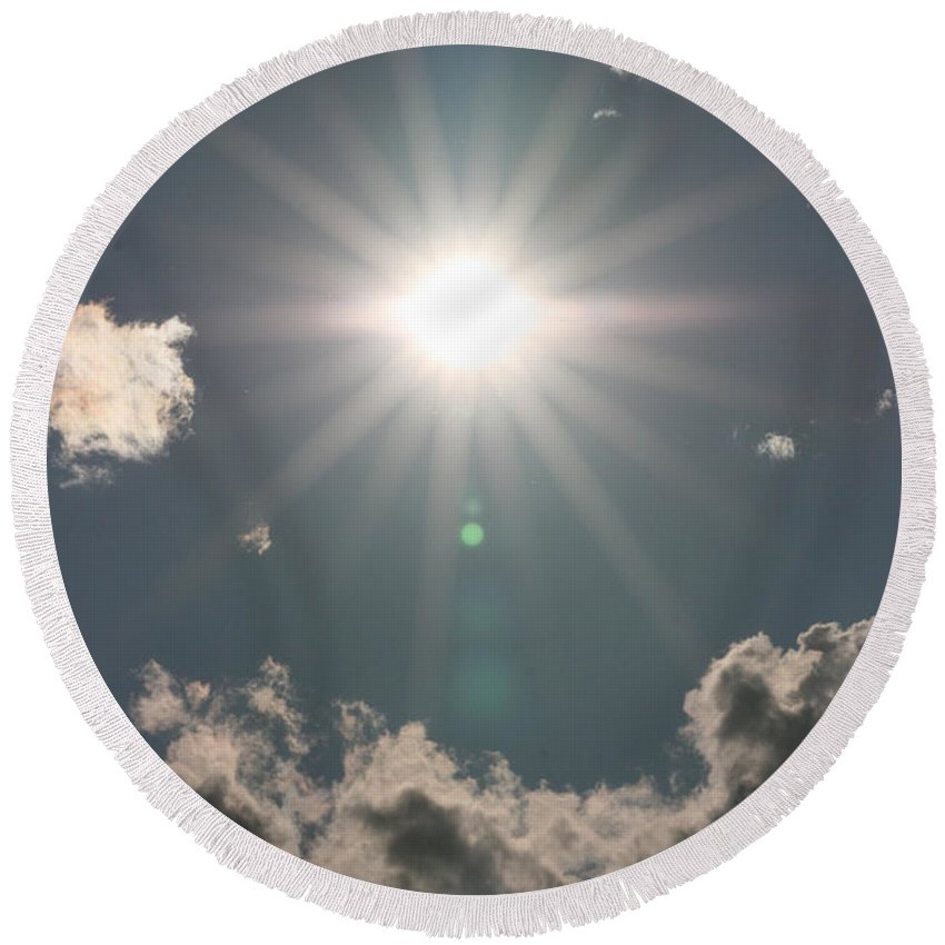 Sun Clouds Sky Solar Star Trees Bright Happy Sunshine Round Beach Towel featuring the photograph Spectacular Sun by Andrea Lawrence