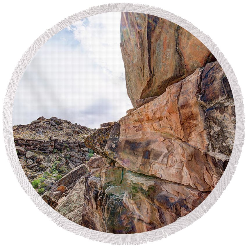 Clouds Round Beach Towel featuring the photograph Spectral Light On The Cliffside by Jim Thompson