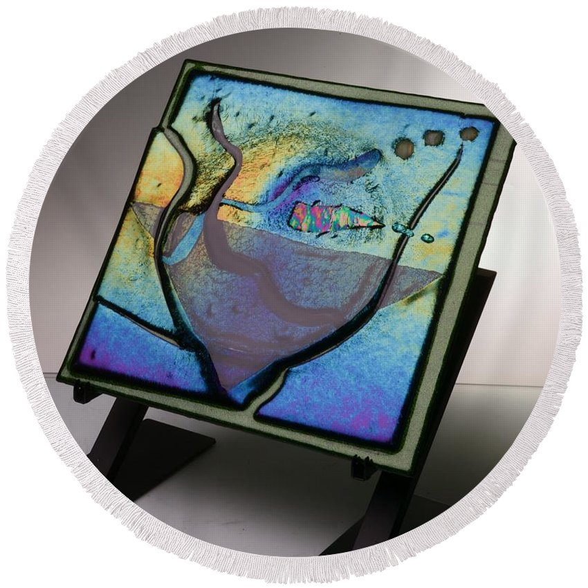 Fused Art Glass Round Beach Towel featuring the photograph Spectrum by Mykel Davis