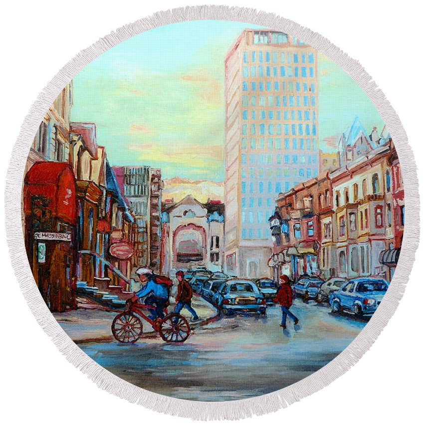 Montreal Round Beach Towel featuring the painting Speed Cyclist On Crescent by Carole Spandau