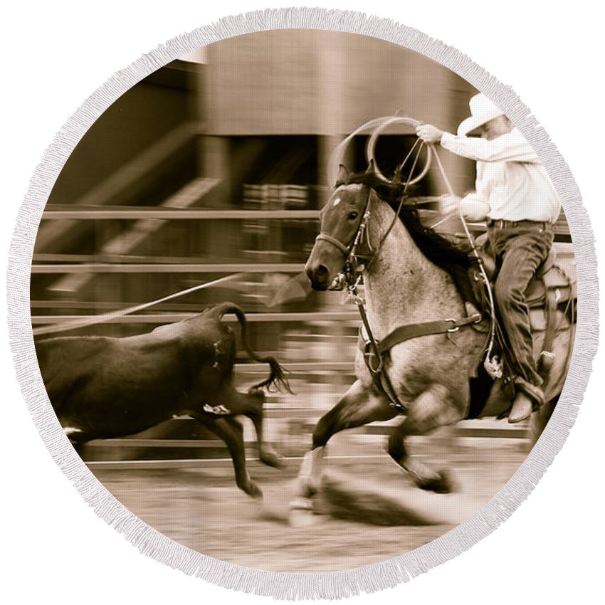 Rodeo Round Beach Towel featuring the photograph Speed by Scott Sawyer