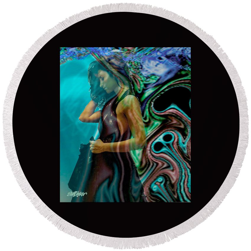 Beautiful Women Round Beach Towel featuring the digital art Spell Of A Woman by Seth Weaver