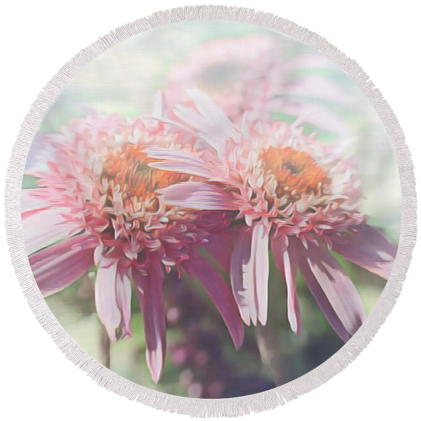 Echinacea Round Beach Towel featuring the photograph Spent by Jean OKeeffe Macro Abundance Art