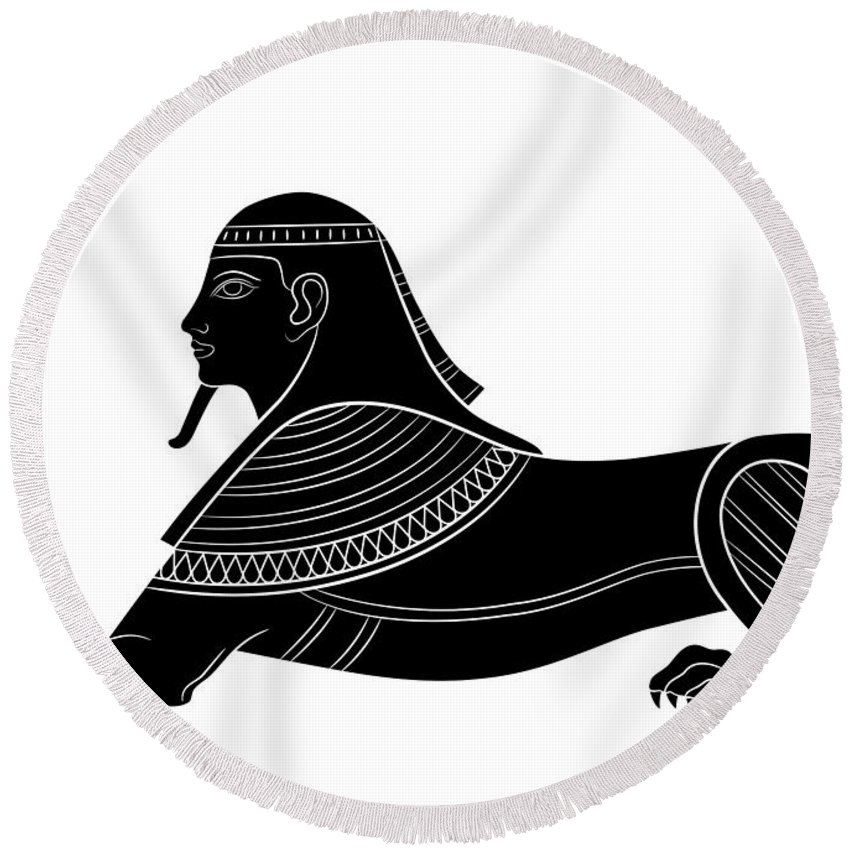 Art Round Beach Towel featuring the digital art Sphinx - Mythical Creature Of Ancient Egypt by Michal Boubin