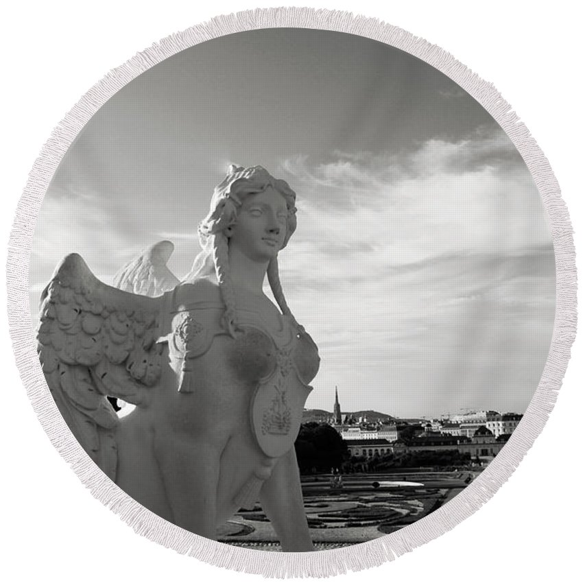 Angel Round Beach Towel featuring the photograph Sphinx- By Linda Woods by Linda Woods