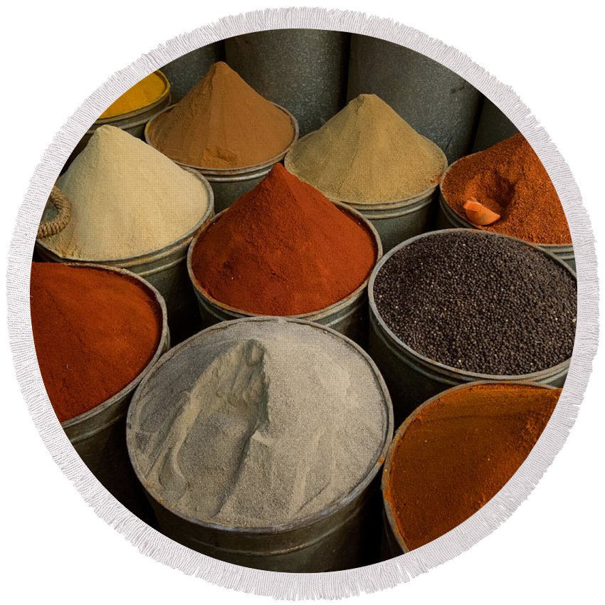 Photography Round Beach Towel featuring the photograph Spices For Sale In Souk, Fes, Morocco by Panoramic Images