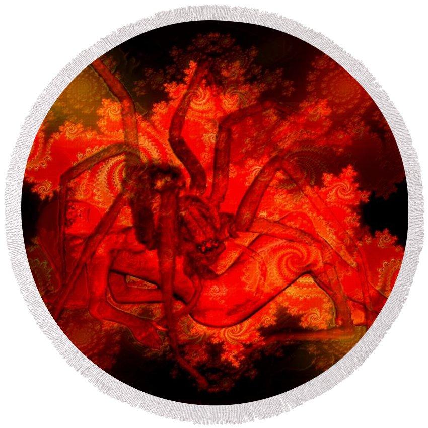Spider Round Beach Towel featuring the digital art Spider Catches Virgin In Space by Helmut Rottler