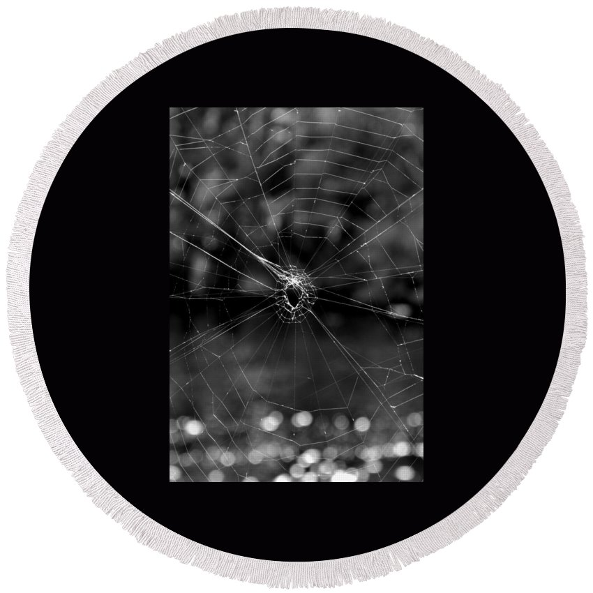 Black And White Round Beach Towel featuring the photograph Spiderweb by Michele Nelson
