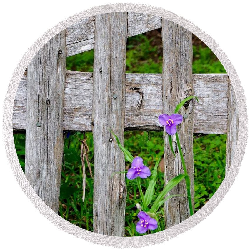 Flowers Round Beach Towel featuring the photograph Spiderworts By The Gate by Gary Richards