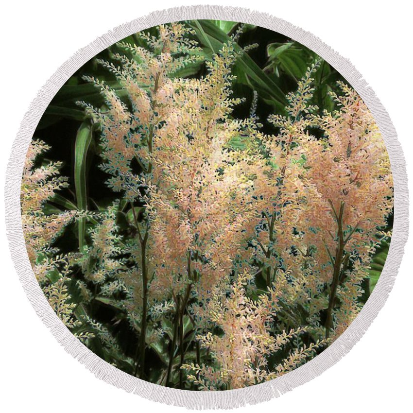 Astilbe Round Beach Towel featuring the painting Spikes Sunkissed by RC DeWinter
