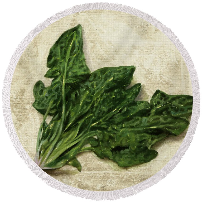 Spinach Round Beach Towels