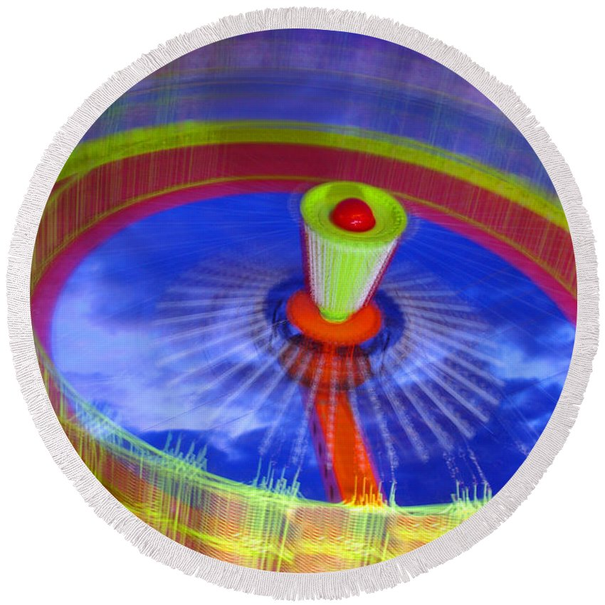 Abstract Round Beach Towel featuring the photograph Spinning Fair Ride by Rich Walter