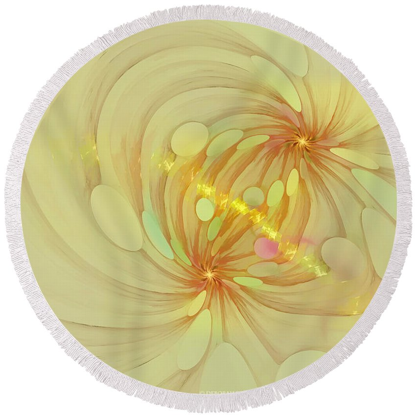 Fractal Round Beach Towel featuring the digital art Spiral Mind Connection by Deborah Benoit